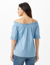 Eyelet Woven Peasant Top - Light Blue - Back
