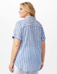 Dressbarn Lurex Stripe 1 Pocket Shirt - Plus - Blue - Back