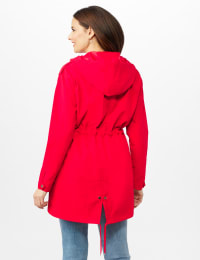 Hooded Zip Front Utility Jacket with Slant, Waist Drawcord, Chest Zip Pockets - R.red - Back