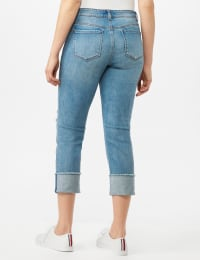 Authentic Stretch Straight Leg Denim Pants with High Fray Cuff - Robin Wash Blue - Back