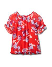 Blue Floral Pleat Neck Bubble Hem-Petite - Red - Back