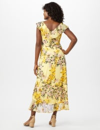 Mock Wrap Floral Chiffon Dress - Yellow - Back