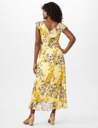 Mock Wrap Floral Chiffon Dress - Yellow - Back