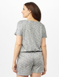 Space Dye French Terry Knit Top - Grey - Back