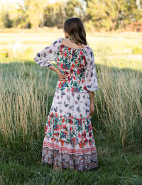 Tiered Border Print Maxi Peasant Dress - Nude/Orange - Back