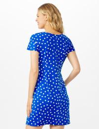 Petite Dot Faux Wrap  Side Tie Dress - Royal - Back