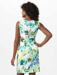 Sleeveless Floral Asymmetrical Tiered Dress - Seafoam - Back