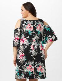Cold Shoulder Elbow Sleeve Etched Floral Dress - Black - Back