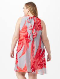 Sleeveless Chiffon Brush Stroke Mock Neck Dress - Grey/Red - Back