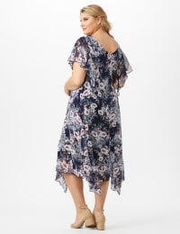 Floral Chiffon Drape Neck Hanky Hem Dress - Plus - Navy/Mauve - Back