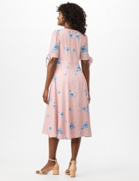 Short Tie Sleeve Blue Flower Empire Dress - Blush/Ivory - Back