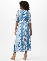 Floral Stripe Patio Dress - Sky Blue/Multi - Back