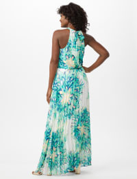 Flower Pleated Skirt Patio Dress - Aqua Multi - Back