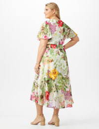 V-neck Chiffon Jacquard Botanical Floral Dress - Plus - Ivory/Rose - Back