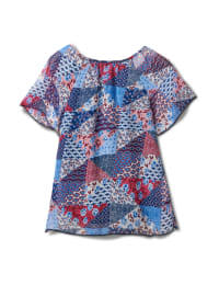 Patchwork Peasant Woven Blouse - Misses - Navy - Back
