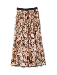 Floral Print Pleated Skirt With Contrast Elastic Waistband - Floral - Back