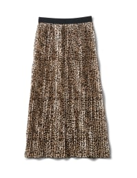 Printed Pleated Skirt With Contrast Elastic Waistband - Skin - Back