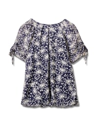 Small Floral Bubble Hem Top - Plus - Navy - Back