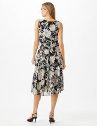 Sleeveless V-Neck Floral Flounce Detail Dress - Black - Back