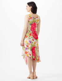 Sleeveless Drape Neck Asymmetrical Hem Floral Dress - Champagne - Back