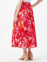 Elastic Waist Crinkle Pull On Skirt - Hot Pink - Back