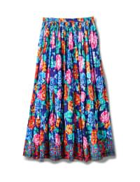 Printed Border Print Crinkle Skirt - Navy - Back