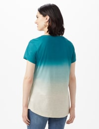 Heathered Ombre Knit Tee - Blue - Back