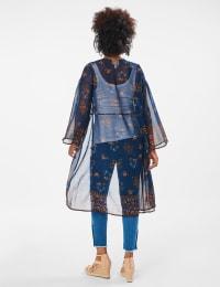 Dressbarn Floral  Border Kimono - Multi - Back