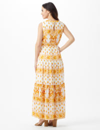 Mixed Pattern Maxi Peasant Dress - Ivory/Mustard - Back