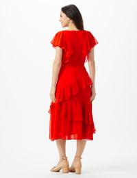 Ruffle V-Neck Chiffon Ruffle Layer Dress - Spice - Back