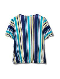 Stripe Square Neck Knit Top - Misses - Turq - Back