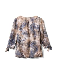 Roz & Ali Lurex  Paisley Bubble Hem Blouse - Misses - Taupe/Blue - Back