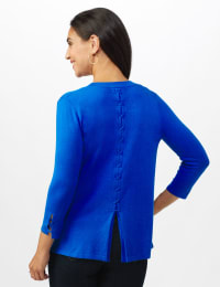 Roz & Ali Lace-Up Back Cardigan - Misses - Masquerade Blue - Back