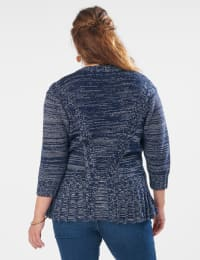 Roz & Ali Marled Button Cardigan - Navy Combo - Back