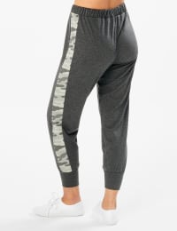 Jogger Knit Pant With Camouflage Trim - Misses - Charcoal - Back