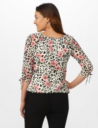 Petite Tie Sleeve Animal Print Bubble Hem Blouse - Beige - Back