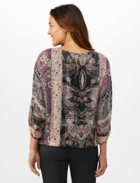 Roz & Ali Floral Bubble Hem Lurex Blouse - Plum - Back