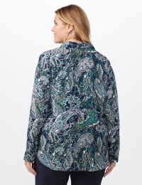 "Roz & Ali ""To Tie Or Not To Tie"" Button Front Shirt - Plus - Navy - Back"