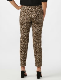 Roz & Ali Animal Print Superstretch Pull On Ankle Pants with Slit Hem - Black/Taupe - Back