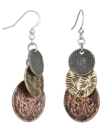 Stamped Metal Trio Earrings - Multi - Back
