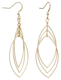Layered Gold Leaf Earrings - Gold - Back
