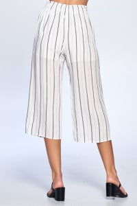 Pinstripe Drawstring Ankle Pants - Black - Back