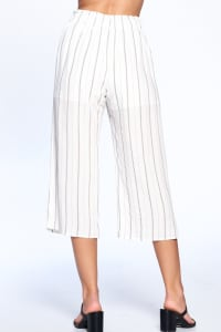 Pinstripe Drawstring Ankle Pants - Grey - Back