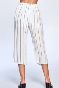 Pinstripe Drawstring Ankle Pants - Navy - Back