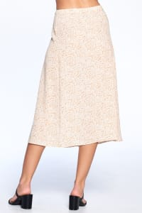Button Front Ankle Length Skirt - Taupe - Back
