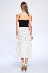 Dot Print Ankle Length Skirt - Ivory - Back