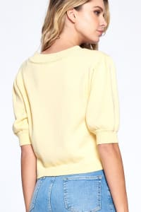 Button Front Short Sleeve Sweater - Back