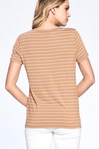 Essential Stripe Tee - Sand / Ivory - Back