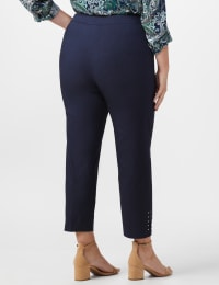 Roz & Ali Solid Superstretch Tummy Panel Pull On Ankle Pants With Rivet Trim Bottom - Plus - Back