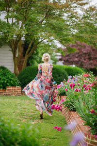 Esvedra Multi Colored Open Front Gown - Multi - Back